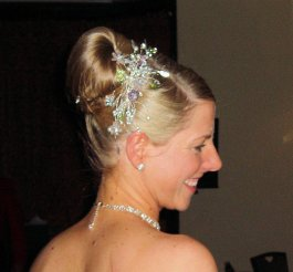 Wedding hair up style with crystal hair accessory