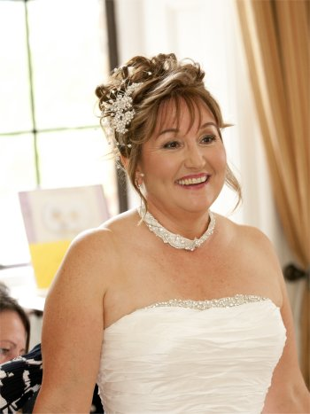 Bridal hair up and makeup for a mature bride(Wedding hair accessory by ...