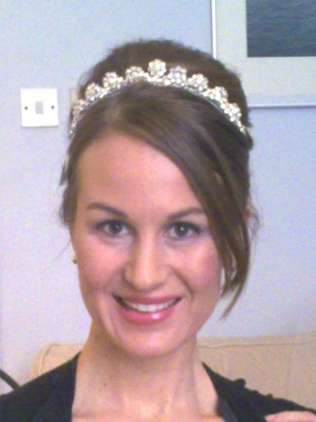 Bridal hair and makeup (pearl and crystal tiara by www.irresistibleheaddresses.com 01403-871449)
