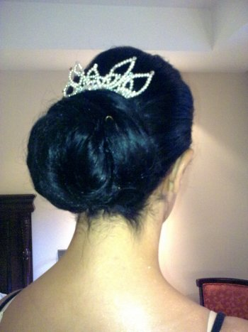 Bridal Hair style Audrey Hepburn with a low chignon using clip in hair extensions