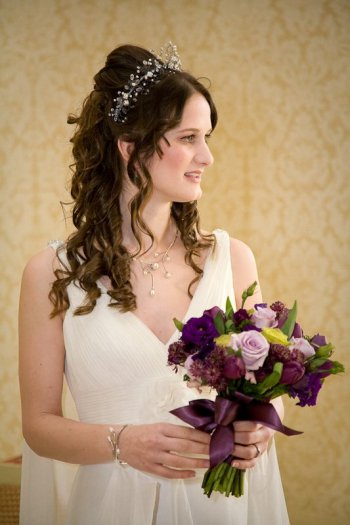 Wedding hair style and natural makeup for a bride with long hair who wants it down (Wedding tiara www.irresistibleheaddresses.com 01403 871449